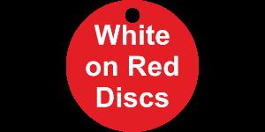Valve Tag Discs White on Red